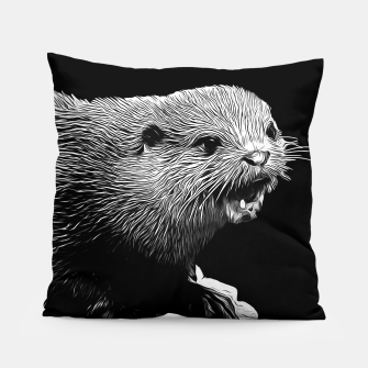 Thumbnail image of gxp fish otter on a rock vector art black white Pillow, Live Heroes