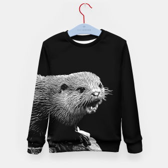 Thumbnail image of gxp fish otter on a rock vector art black white Kid's sweater, Live Heroes