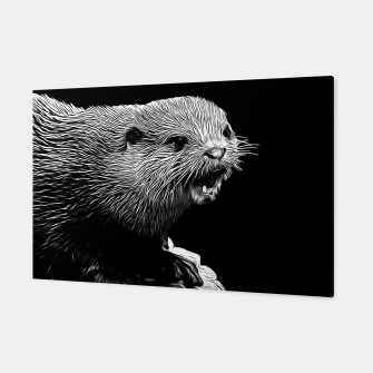 Thumbnail image of gxp fish otter on a rock vector art black white Canvas, Live Heroes