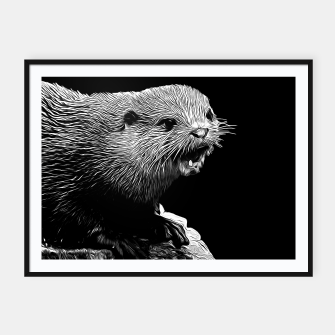 Thumbnail image of gxp fish otter on a rock vector art black white Framed poster, Live Heroes