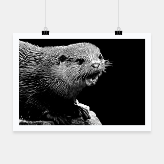 Thumbnail image of gxp fish otter on a rock vector art black white Poster, Live Heroes