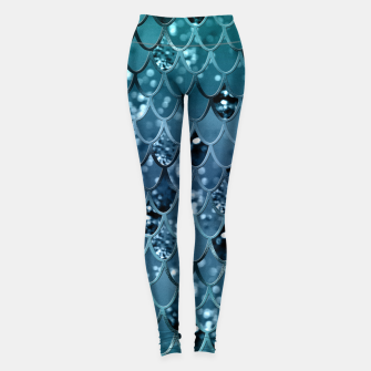 Thumbnail image of Teal Mermaid Scales Glam #2 #shiny #decor #art  Leggings, Live Heroes