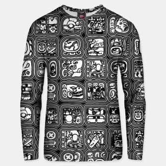 Thumbnail image of Mayan Temple B&W Ancient Mayan hieroglyphics archaeology pattern Unisex sweater, Live Heroes