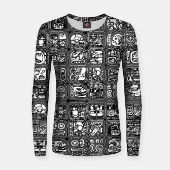Thumbnail image of Mayan Temple B&W Ancient Mayan hieroglyphics archaeology pattern Women sweater, Live Heroes