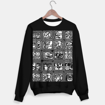 Thumbnail image of Mayan Temple B&W Ancient Mayan hieroglyphics archaeology pattern Sweater regular, Live Heroes