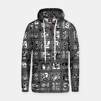 Thumbnail image of Mayan Temple B&W Ancient Mayan hieroglyphics archaeology pattern Hoodie, Live Heroes