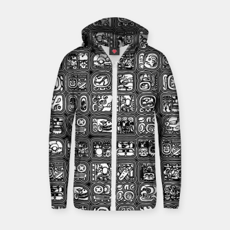 Thumbnail image of Mayan Temple B&W Ancient Mayan hieroglyphics archaeology pattern Zip up hoodie, Live Heroes