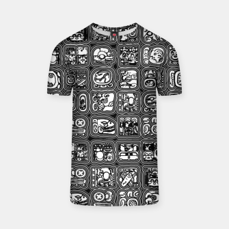 Thumbnail image of Mayan Temple B&W Ancient Mayan hieroglyphics archaeology pattern T-shirt, Live Heroes