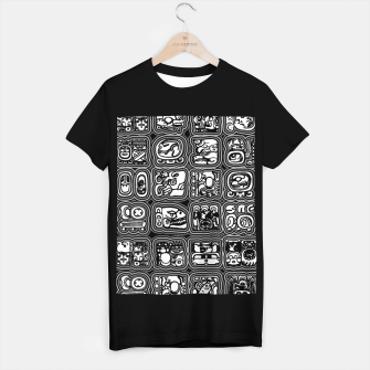 Thumbnail image of Mayan Temple B&W Ancient Mayan hieroglyphics archaeology pattern T-shirt regular, Live Heroes