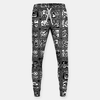 Thumbnail image of Mayan Temple B&W Ancient Mayan hieroglyphics archaeology pattern Sweatpants, Live Heroes