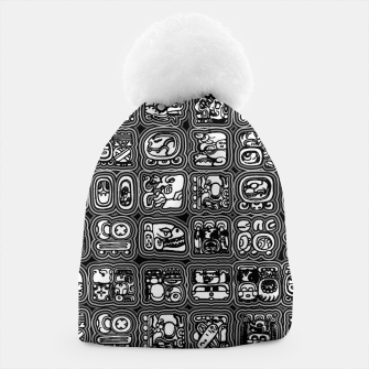 Thumbnail image of Mayan Temple B&W Ancient Mayan hieroglyphics archaeology pattern Beanie, Live Heroes