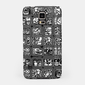 Thumbnail image of Mayan Temple B&W Ancient Mayan hieroglyphics archaeology pattern Samsung Case, Live Heroes