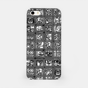 Thumbnail image of Mayan Temple B&W Ancient Mayan hieroglyphics archaeology pattern iPhone Case, Live Heroes
