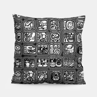 Thumbnail image of Mayan Temple B&W Ancient Mayan hieroglyphics archaeology pattern Pillow, Live Heroes