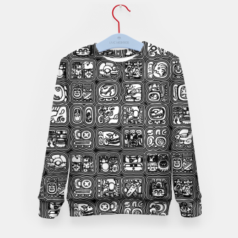Thumbnail image of Mayan Temple B&W Ancient Mayan hieroglyphics archaeology pattern Kid's sweater, Live Heroes