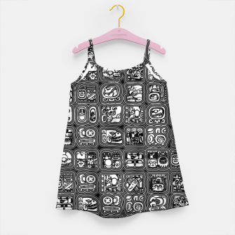 Thumbnail image of Mayan Temple B&W Ancient Mayan hieroglyphics archaeology pattern Girl's dress, Live Heroes