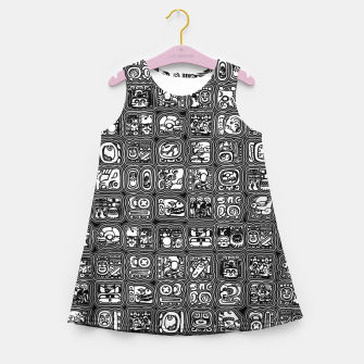 Thumbnail image of Mayan Temple B&W Ancient Mayan hieroglyphics archaeology pattern Girl's summer dress, Live Heroes