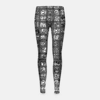 Thumbnail image of Mayan Temple B&W Ancient Mayan hieroglyphics archaeology pattern Girl's leggings, Live Heroes