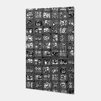 Thumbnail image of Mayan Temple B&W Ancient Mayan hieroglyphics archaeology pattern Canvas, Live Heroes