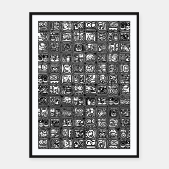 Thumbnail image of Mayan Temple B&W Ancient Mayan hieroglyphics archaeology pattern Framed poster, Live Heroes