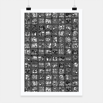 Thumbnail image of Mayan Temple B&W Ancient Mayan hieroglyphics archaeology pattern Poster, Live Heroes