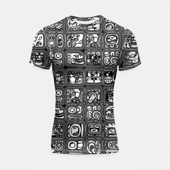 Thumbnail image of Mayan Temple B&W Ancient Mayan hieroglyphics archaeology pattern Shortsleeve rashguard, Live Heroes
