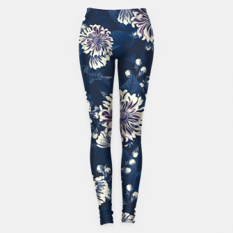 Miniaturka elysian flowers floral pattern 01 dark night Leggings, Live Heroes