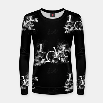 Thumbnail image of elysian flowers floral love letters seamless pattern black Women sweater, Live Heroes