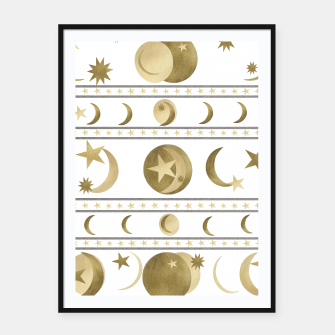 Thumbnail image of Dreamy Golden Moon and Star Pattern #1 #decor #art  Plakat mit rahmen, Live Heroes