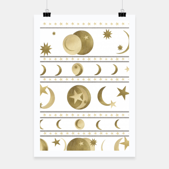 Thumbnail image of Dreamy Golden Moon and Star Pattern #1 #decor #art  Plakat, Live Heroes