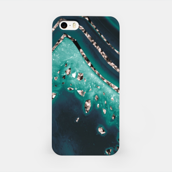 Thumbnail image of Teal Agate Rose Gold Glitter Glam #1 #gem #decor #art iPhone-Hülle, Live Heroes