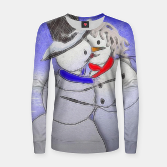 Thumbnail image of Kissing Snow Couple Women sweater, Live Heroes