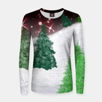 Thumbnail image of Trees on a Christmas Hill Women sweater, Live Heroes