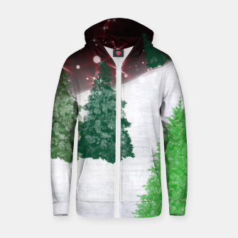 Thumbnail image of Trees on a Christmas Hill Zip up hoodie, Live Heroes