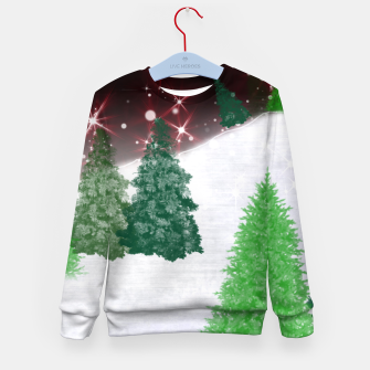 Thumbnail image of Trees on a Christmas Hill Kid's sweater, Live Heroes