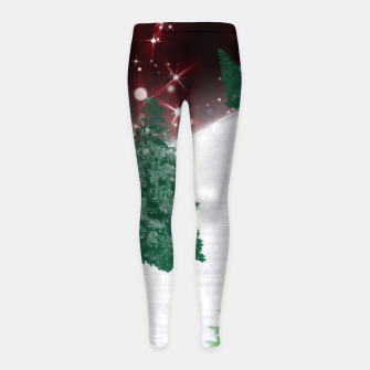 Thumbnail image of Trees on a Christmas Hill Girl's leggings, Live Heroes