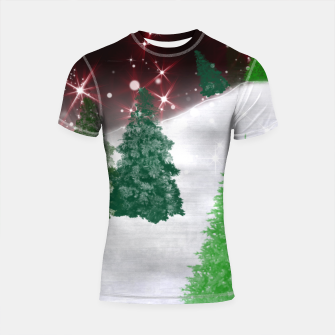 Thumbnail image of Trees on a Christmas Hill Shortsleeve rashguard, Live Heroes