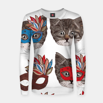 Thumbnail image of Mask and cute lovely cat pattern Women sweater, Live Heroes