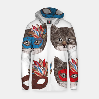 Thumbnail image of Mask and cute lovely cat pattern Zip up hoodie, Live Heroes