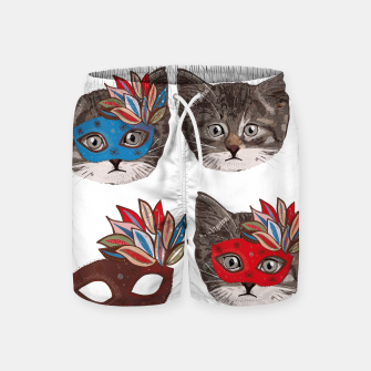 Thumbnail image of Mask and cute lovely cat pattern Swim Shorts, Live Heroes