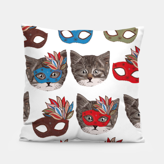 Thumbnail image of Mask and cute lovely cat pattern Pillow, Live Heroes