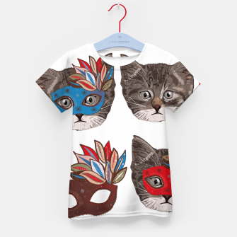 Thumbnail image of Mask and cute lovely cat pattern Kid's t-shirt, Live Heroes