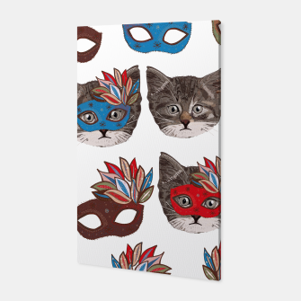 Thumbnail image of Mask and cute lovely cat pattern Canvas, Live Heroes