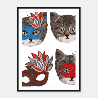 Thumbnail image of Mask and cute lovely cat pattern Framed poster, Live Heroes