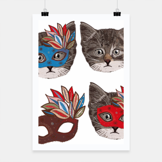 Thumbnail image of Mask and cute lovely cat pattern Poster, Live Heroes