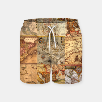 Thumbnail image of Old maps Swim Shorts, Live Heroes