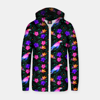 Thumbnail image of parrots in the jungle Zip up hoodie, Live Heroes