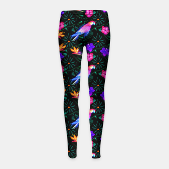 Thumbnail image of parrots in the jungle Girl's leggings, Live Heroes