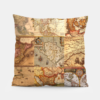 Thumbnail image of Old maps Pillow, Live Heroes