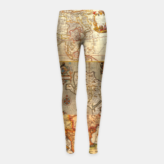 Thumbnail image of Old maps Girl's leggings, Live Heroes
